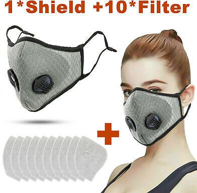 Cycling Protective Mouth-muffle Face Shield Haze Fog Mouth Cover With Filter Er