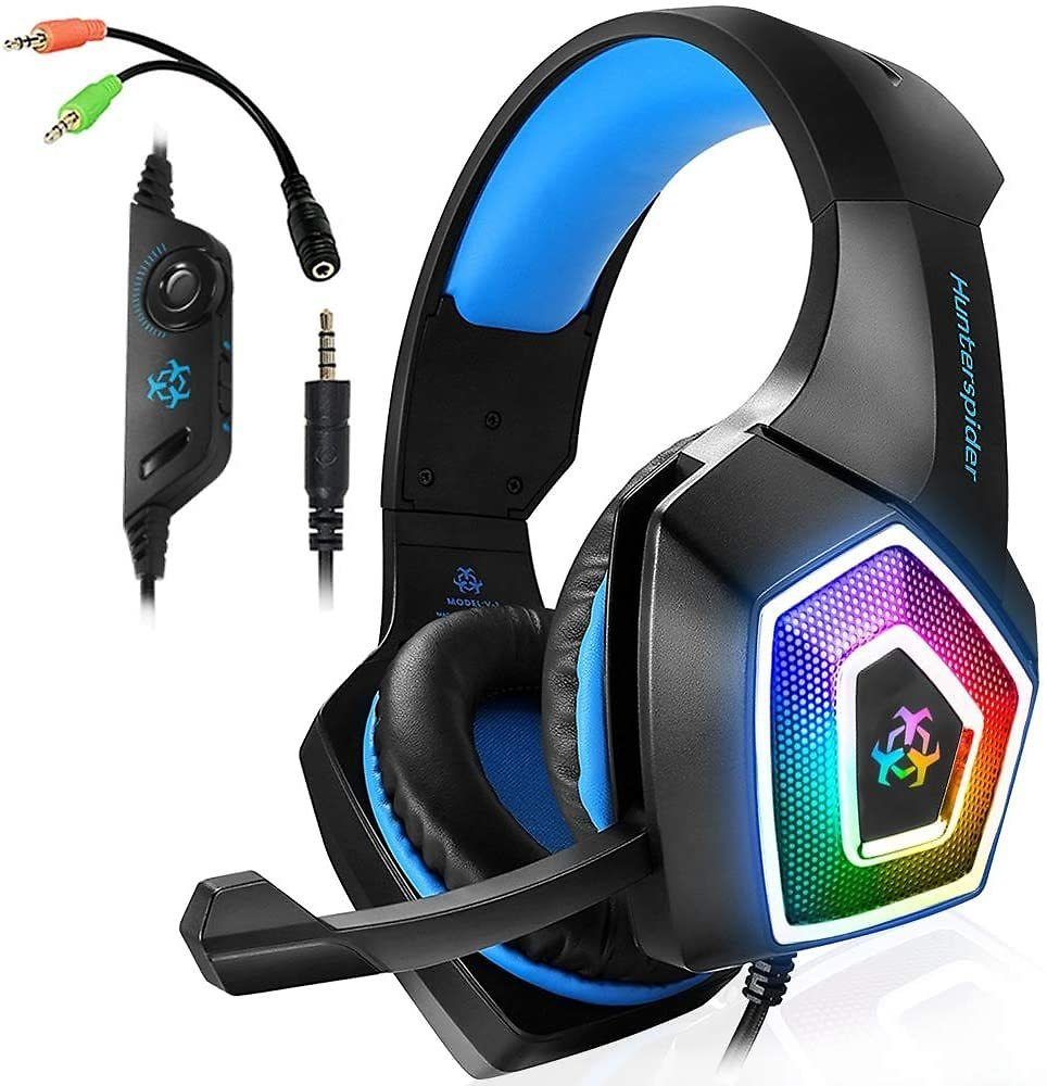 Gaming Headset with Mic LED Light On Ear Gaming Headphone PS4,3.5mm Wired Gaming Headset for PC Mac Laptop Gamer Headphone (Blue)