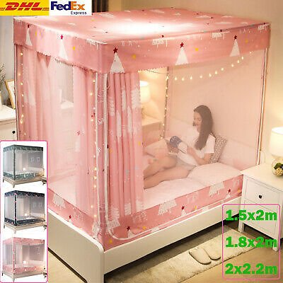 Princess Tent Bedding Mosquito Double Layer Net Bed Curtain Canopy w/ Bed Frame