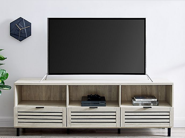 Forest Gate Slat Door 70-Inch Modern TV Stand in Birch