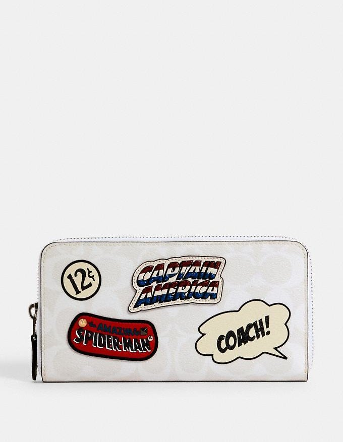 Marvel Accordion Zip Wallet in Signature Canvas with Patches