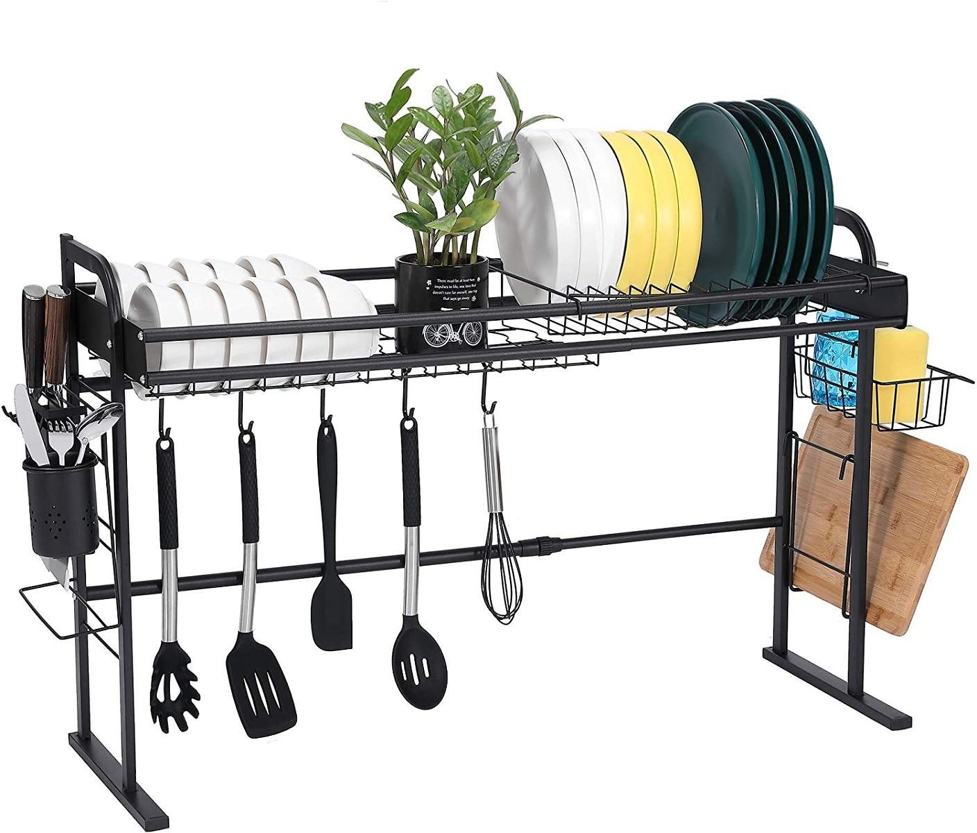Over The Sink Dish Drying Rack, JSK Adjustable Stainless Steel Dish Rack for Kitchen Organization Storage Drainer Dish Rack Over Sink with 5 Hooks, Black (20.5
