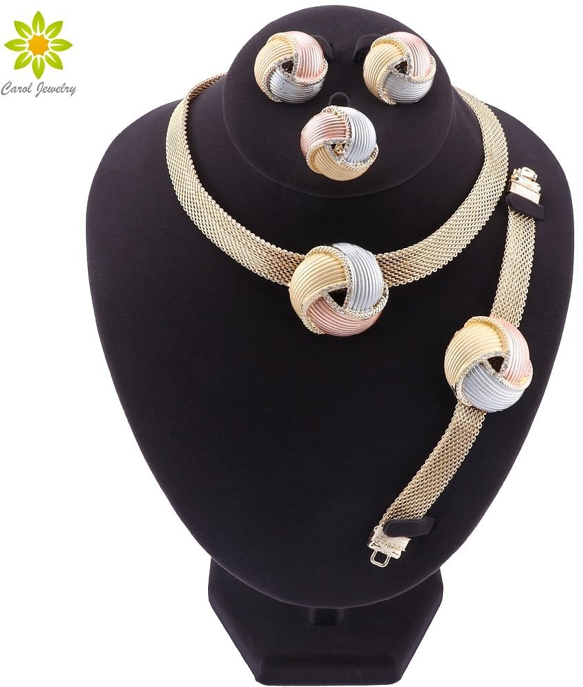 US $10.04 46% OFF|African Dubai Gold Bridal Jewelry Sets for Women Bracelet Earrings Wedding Party Crystal Necklace Ring Jewelry Sets|Bridal Jewelry Sets| - AliExpress
