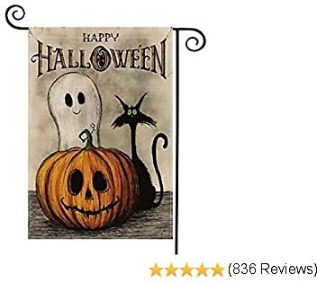 AVOIN Happy Halloween Garden Flag Vertical Double Sized, Spooky Ghost Pumpkin Jack O'Lantern Black Cat Yard Outdoor Decoration 12.5 X 18 Inch