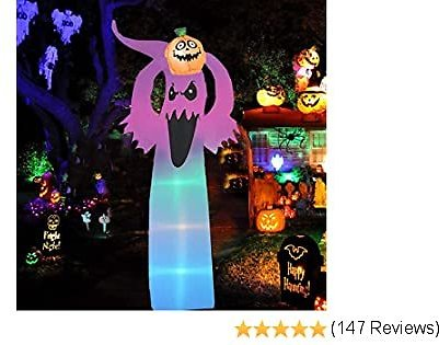 Raoccuy Halloween Inflatable Ghosts Pumpkin Decoration - 5.9ft Halloween Blow Up Pumpkin Ghost Inflatable Decoration - Outdoor Holiday Decoration Blow Up Yard Lawn Inflatable Home Family Decor