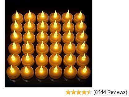 Vont LED Candles, Lasts 2X Longer, Realistic Tea Lights Candles, LED Tealight Candles, Flickering Bright Tealights, Battery Operated/Powered, Flameless Candles, Unscented, Batteries Included (24)