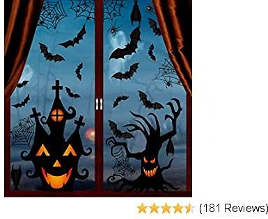 VEYLIN 6Sheets 200Pcs Halloween Window Clings, Double-Side Spooky Removable Window Sticker for Halloween Party Decoration