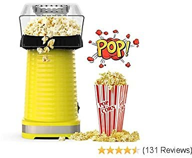 Hot Air Popcorn Maker Machine, Popcorn Popper for Home, ETL Certified, BPA-Free, No Oil, Healthy Snack for Kids Adults, Removable Measuring Cup, Perfect for Party Birthday Gift, Yellow-1200W