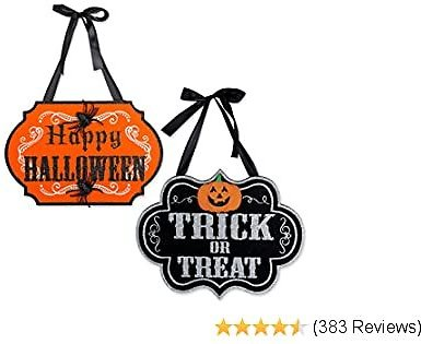DII Indoor and Outdoor Wood Fall Halloween Hanging Door Decorations and Wall Signs, Haunted House Decor, For Home, School, Office, Party Decorations, Set of 2 - Trick or Treat & Happy Halloween