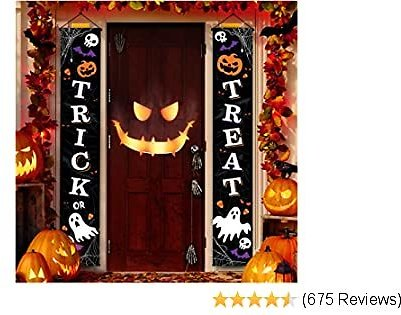 Joyousa Outdoor Halloween Decorations Decor - Front Door Trick or Treat Banner Hanging Halloween Porch Decorations Outdoor Signs for Home Welcome Signs