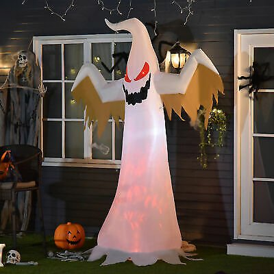 HOMCOM 8' Halloween Decor Inflatable Ghost Lighted Holiday for Yard