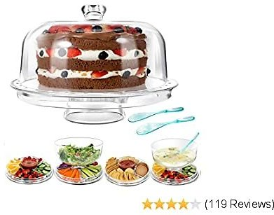 MASTERTOP Cake Stand - 6 in 1 Multifunctional Clear Acrylic Serving Platter and Cake Plate With Dome, Use As Cake Plate/Salad Bowl/Nachos/Punch Bowl, Wedding Cake Stands, 2 Pcs Spoons, BPA Free