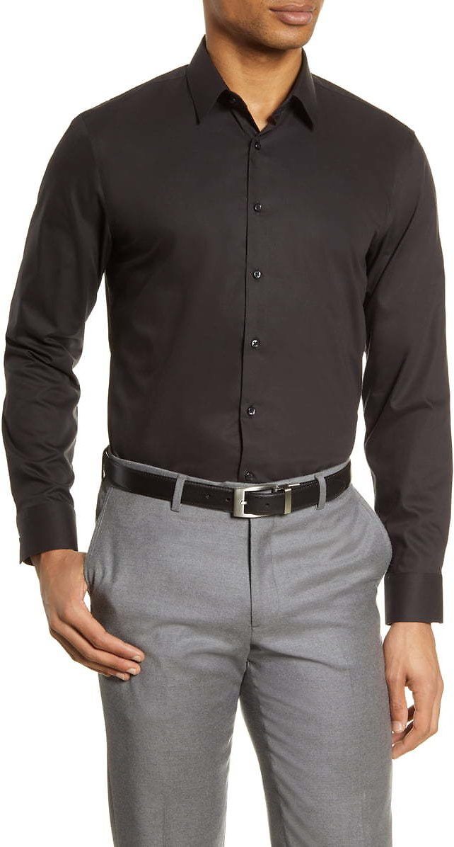 Nordstrom Men's Shop Extra Trim Fit Non-Iron Solid Stretch Dress Shirt   Nordstrom