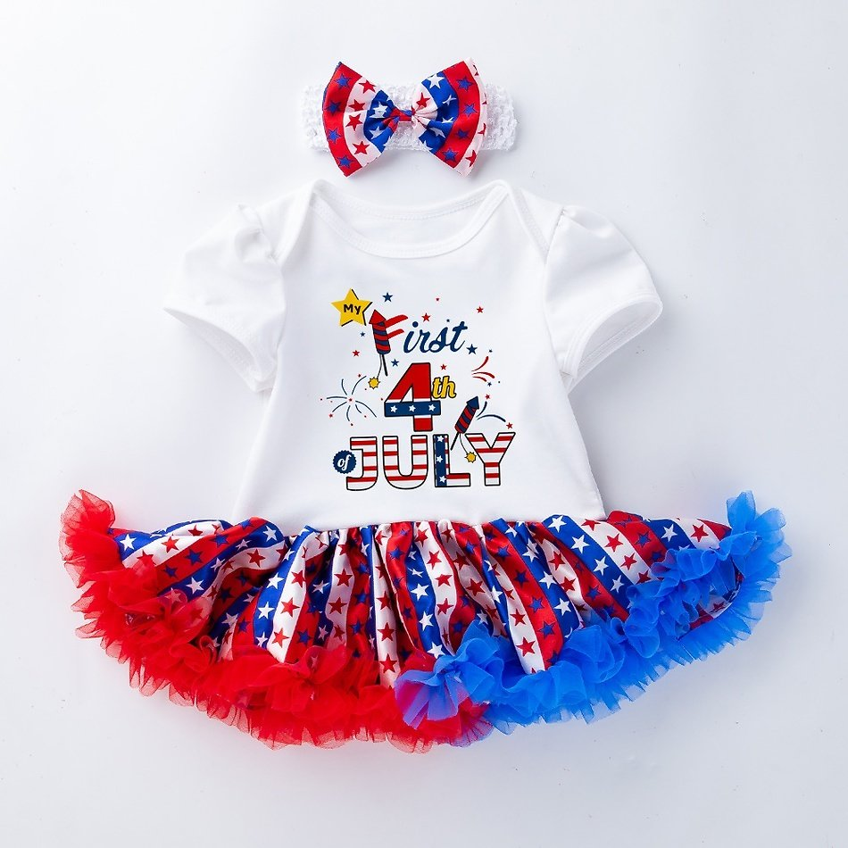 Baby 4th of July Independence Day Stars Tulle Tutu Dress Rompers with Headband