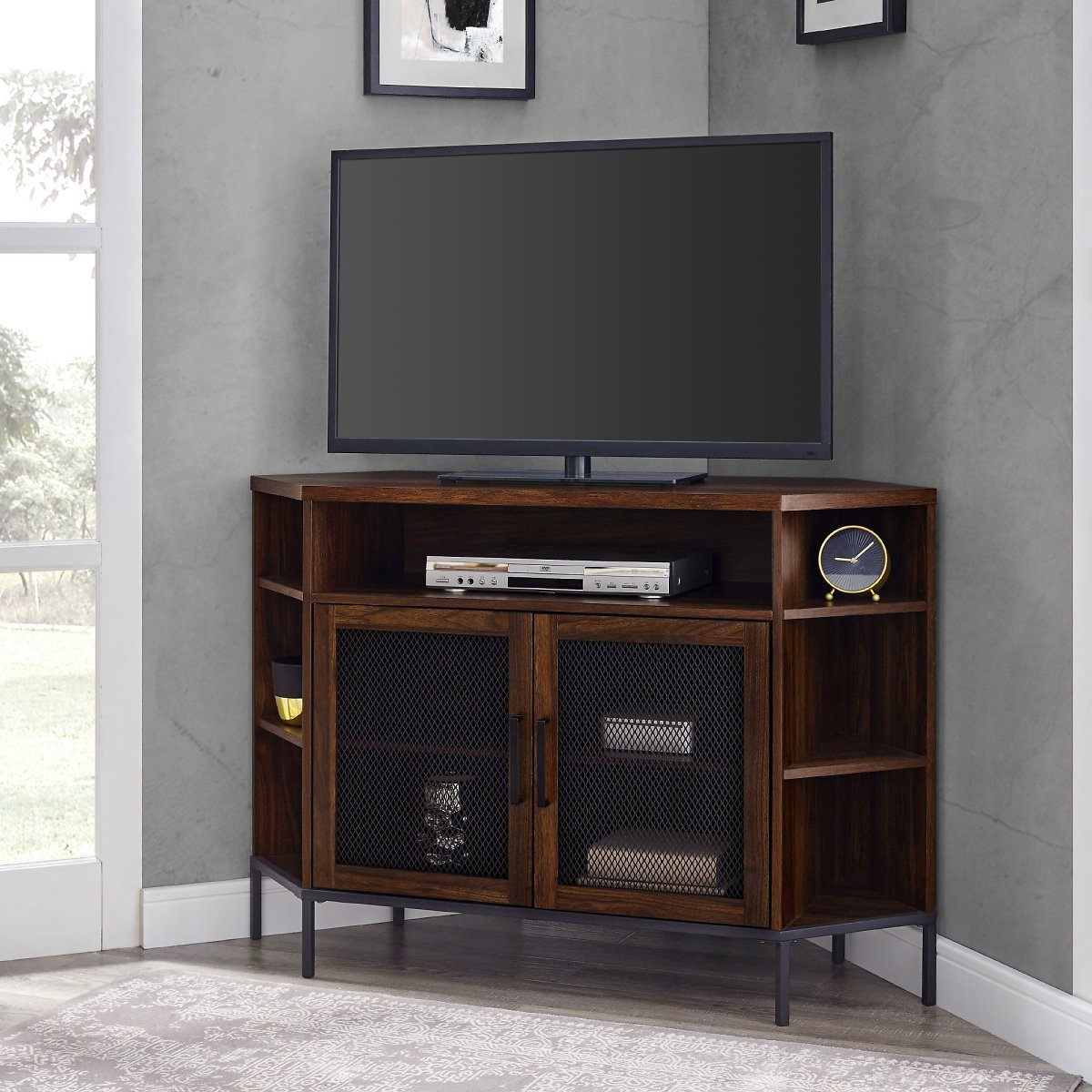 Manor Park Industrial Corner TV Stand for TVs Up to 55