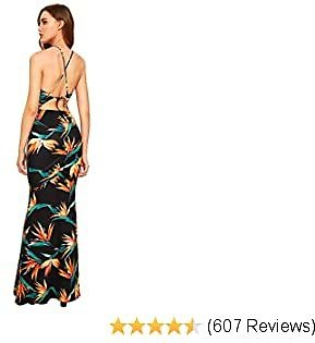SheIn Women's Floral Strappy Backless Summer Evening Party Maxi Dress