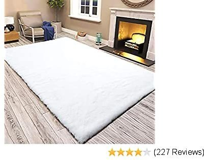 LOCHAS Ultra Soft Faux Fur Area Rugs for Bedroom 4x6 Feet, Fluffy Bedside Rug Mat for Kids Nursery Rugs Living Room Carpets Floor, White
