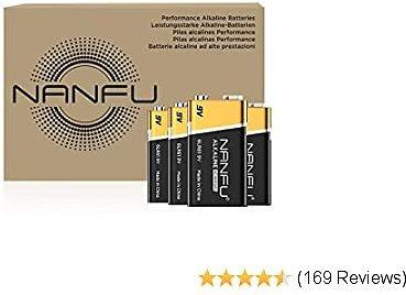 NANFU High Performance 9V Batteries (4 Count), Ultra Power 9 Volt Batteries, Long Lasting for Household Devices. …