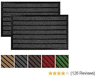Olanly 2-Pack Original Durable Striped Door Mat Outdoors, Heavy Duty Doormat, Easy Clean, Low-Profile Mats for Entry, Garage, Patio, High Traffic Areas, 17X29, Striped Grey
