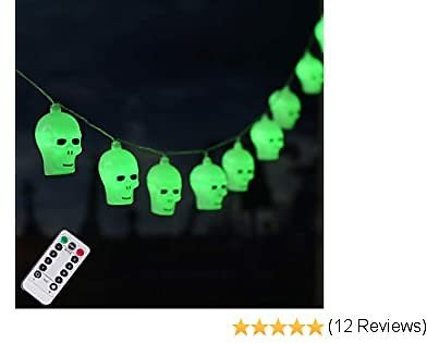 20 LED Halloween Skull String Lights, 8 Modes Fairy Lights with Remote, Waterproof Battery Operated Halloween Lights for Outdoor Indoor Party Patio Halloween Decoration (Green)