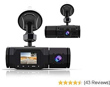 Dual Dash Cam,1080P Front and 720P Inside Cabin Car Dash Camera 1.5' LCD Display Dashboard Cam with 4 IR LEDs, Motion Detection,Parking Mode,Loop Recording,Accfly Compatible with Car Cam Uber Taxi