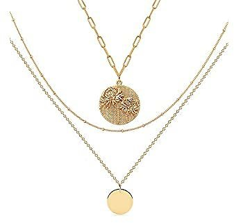 Mevecco Bold Chrysanthemum Birth Flower Layered Heart Necklace for Women 18K Gold Plated Embossed Disk Disc Pendant Rectangle Paperclip Link Chain Coin Necklace Meaningful Gift Personalized Jewelry