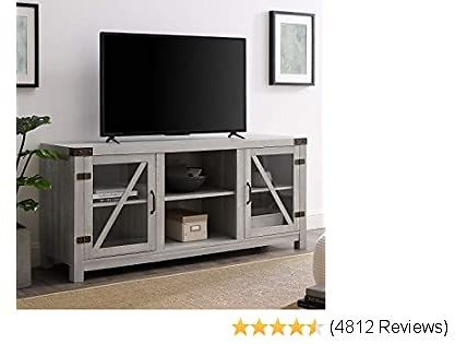 Walker Edison Furniture Company Farmhouse Barn Glass Wood Universal Stand for TV's Up to 64