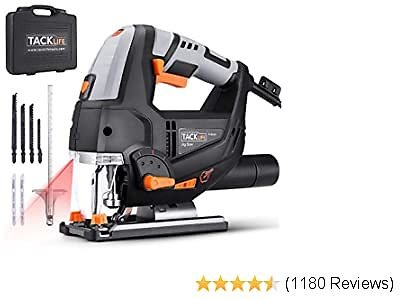 TACKLIFE Advanced 6.7 Amp 3000 SPM Jigsaw with Laser & LED, Variable Speed, Carrying Case, 6 Blades, Adjustable Aluminum Base, Pure Copper Motor, 10 Feet Cord - PJS02A