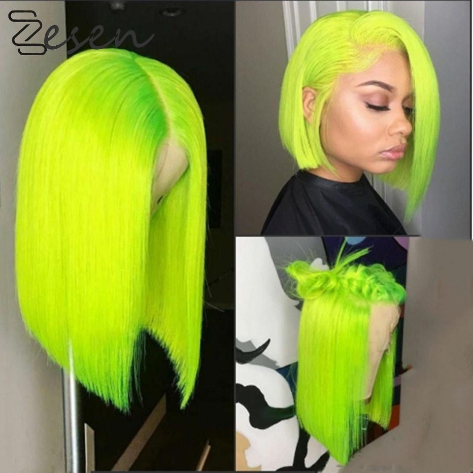 Lace Frontal Cosplay Short Wigs For Women Ombre Color and Green Color 13*4 Synthetic Lace Front Wig Straight Hair Bob Wigs