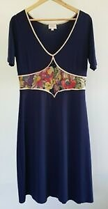 Leona Edmiston Ruby Womens Size 2 Casual Blue Floral Print Stretch A-Line Dress
