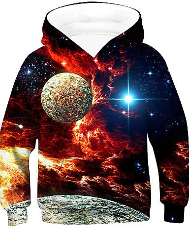 [$18.99] Kids Boys' Active Basic Galaxy Long Sleeve Hoodie & Sweatshirt Red