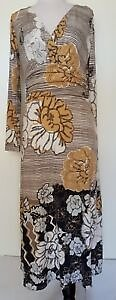 QUEENSPARK Black/Ivory/Taupe Print Stretch Knit Dress Size 8
