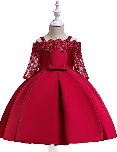 [$19.99] Girls' Active Sweet Party Holiday Solid Colored Christmas Half Sleeve Knee Length Dress Wine