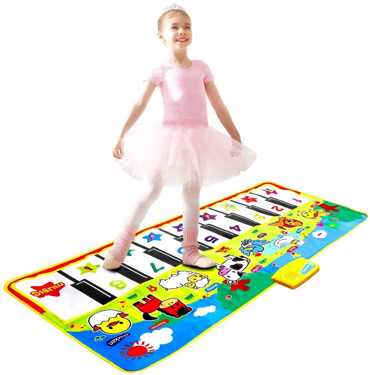 M SANMERSEN Piano Mat 53'' X 23'' Piano Keyboard Play Mat Dance Mat Electronic Music Piano Mat Early Education Toys Gift for Boys Girls Kids Ages 3-6