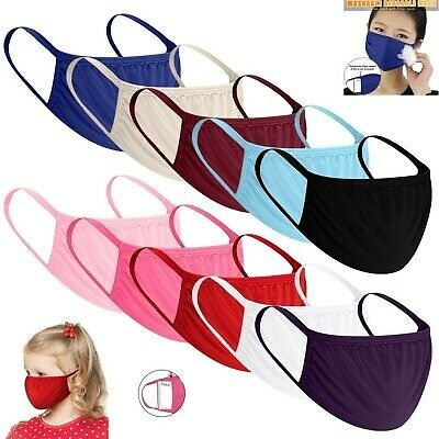 10PC Anti-Haze Reusable Cotton Mouth Face Masks Mouth Cover for Adult and Kids