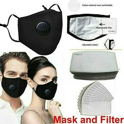 Adult Washable PM2.5 Face Mouth Mask Anti Air Pollution Respirator & Filters Set
