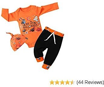 Halloween Baby Boys Clothes My 1st Halloween Romper Tops + Pumpkin Pants + Hat 3Pcs Outfits Set