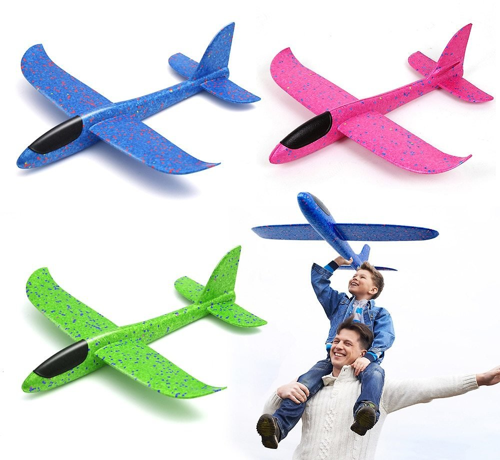US $0.33  38/48CM Hand Throw Foam Plane Toys Outdoor Launch Glider Airplane Kids Gift Toy Free Fly Plane Toys Puzzle Model Jouet RC Airplanes  - AliExpress