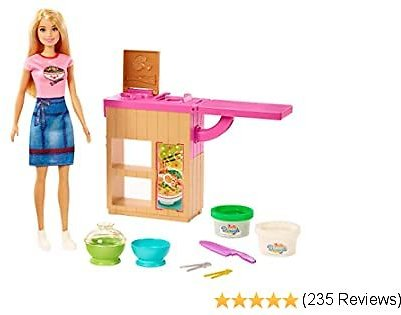 ​Barbie Noodle Bar Playset with Blonde Doll, Workstation, 2 White and Green Dough Containers, 2 Bowls, Play Knife and 2 Pairs of Chopsticks for Ages 4 and Up