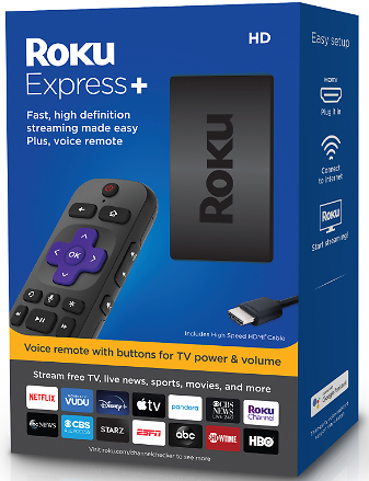 Roku Express+ HD Streaming Media Player 2019 with Voice Remote