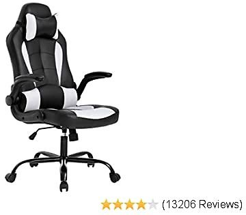 BestOffice Top Gaming Chair Ergonomic Office Chair Desk Chair with Lumbar Support Flip Up Arms Headrest PU Leather
