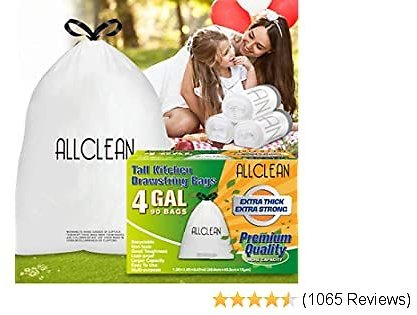 4 Gallon Trash Bags, White Drawstring Garbage Bags Extra Thick Small Kitchen Trash Bags Clear Trash Can Liner for Kitchen, Bathroom, Bedroom, Home, Office and Car,Unscented,90 Count