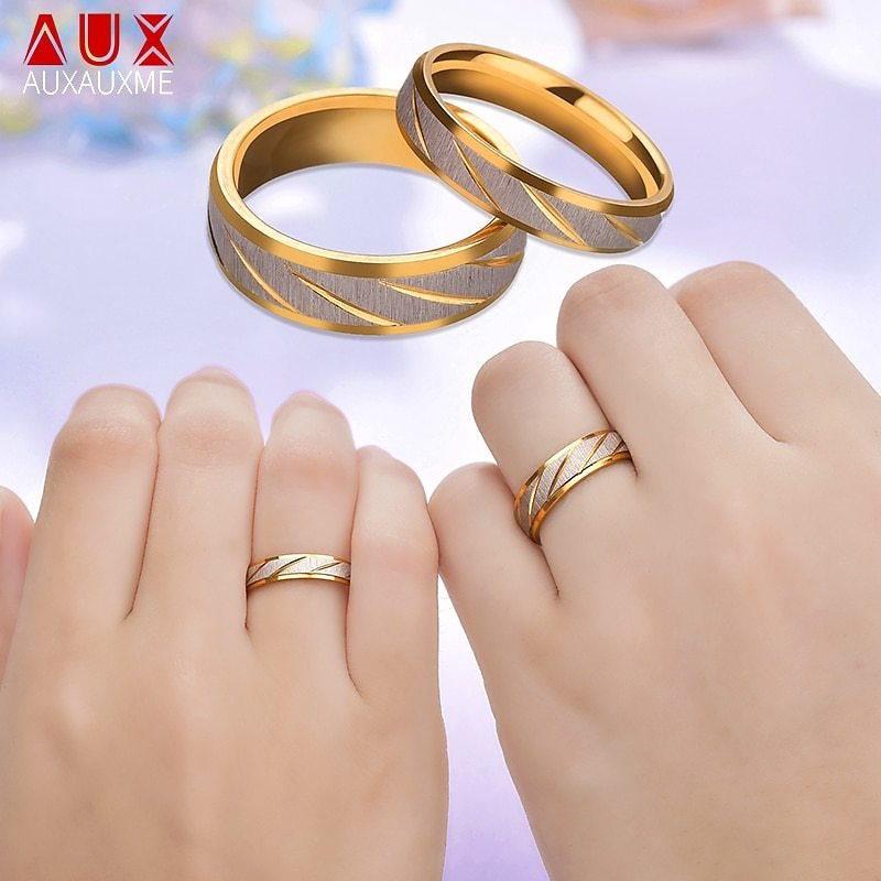 US $0.96 |Auxauxme Titanium Steel Engrave Name Lovers Couple Rings Gold Wave Pattern Wedding Promise Ring For Women Men Engagement Jewelry|Customized Rings| - AliExpress