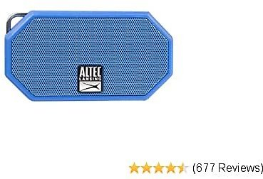 Altec Lansing Portable Bluetooth Speaker – IP67 Waterproof Outdoor Speaker with 30-Foot Range and 6-Hour Battery – Floating Shockproof Wireless Speaker for Beach, Shower, Home and Car (Blue)