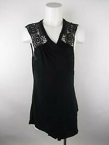 Fashion Bug Women Sz Plus 1X Black Wrap Swing Lace Trim Sleeveless Blouse Top