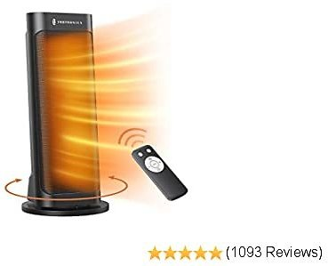 Space Heater, TaoTronics PTC 1500W Fast Quiet Heating Ceramic Tower Heater Oscillating Portable Heater with Remote Control Programmable Thermostat ECO Mode 12H Timer LED Display, Black, Large