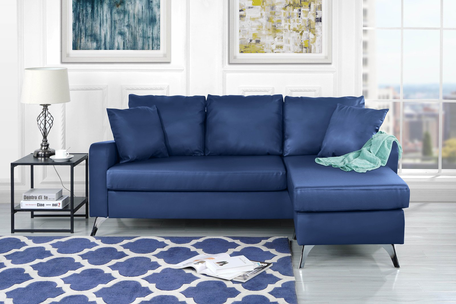 Mobilis Bonded Leather Sectional Sofa - Small Space Configurable Couch, Blue