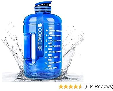 Covacure Water Bottle with Time Marker - Reusable 360°Leak-Proof Drinking Water Jug for Gym Fitness, Camping, Hiking
