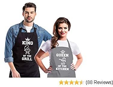 Saukore Funny Cooking Aprons for Couple Adjustable Couple Kitchen Aprons with 2 Pockets Anniversary Wedding Engagement Bridal Shower Gifts for Bride - King of The Grill & Queen of The Kitchen
