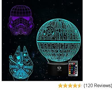 3D Night Light for Kids Star Wars Illusion Lamp Toy 16/7 Colors Changing Dimmable with Smart Touch and Remote Control Unique and Cool Gift Ideas for Star Wars Fans Women Men Boys Birthday-3PC